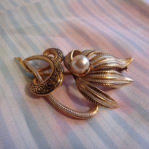 Vintage Damascene Faux Pearl Brooch Spain
